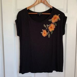 Anthropologie W5 Embroidered Floral Black Shirt